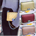 Colorful Chain Le Boy Matte Plaid Leather Tote Chain Shoulder Jelly Bag Large