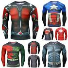 Mens Compression Elasticity Long Sleeve T-shirt Cycling Quick Drying Tight Shirt