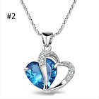 TDUSA - Fashion Women Heart Crystal Rhinestone Silver Chain Pendant Necklace -NT