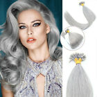Double Drawn Remy Human Hair Extensions Pre-Bonded Nail U Tip Hair Silver Grey