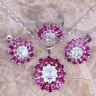 Valuable Red Ruby White Topaz Silver Jewelry Sets Earrings Pendant Ring S0431