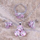 Terrific Pink & White Topaz Silver Jewelry Sets Earrings Pendant Ring S0123