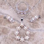 Brown Morganite White Topaz Silver Jewelry Sets Earrings Pendant Ring S0151