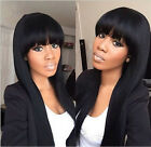 """8A Full/Front Lace Wigs With Bang Peruvian Straight Virgin Human Hair Wig10""""-22"""""""