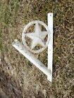 Rustic Wrought Iron Flag Pole Holder with Star Decoration