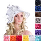 Women Packable Kentucky Derby Church Dressy Satin Ribbon Floral Feather Hat A214