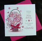 PERSONALISED Handmade BIRTHDAY Card Flower Basket 40th 50th 60th 80th   (2502)