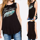Fashion Casual Women Feather Print Black Tank Tops Summer T Shirts Blouse Vesty6