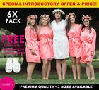 6x Pack White Coral Bridal Robe Set Bride Bridesmaid Wedding Robe Dressing Gown