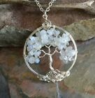 Tree of Life Necklace, Moonstone,Quartz Tree of Life Pendant, April Birthstone
