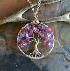 Tree of Life Necklace, Pink Tourmaline/Opalite Tree of life Necklace, October
