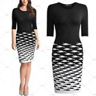 Women Vintage 1950's Round Neck Strethy Contrast Sweater Knit Slim Pencil Dress