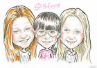 A3 Black&White Group/ Family personalised caricature cartoon drawing from photo