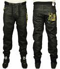 MENS NEW ENZO CUFFED JOGGER STYLE JEANS IN BLACK YELLOW COATED COLOUR 28 - 48