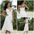 V-neck Short Beach Chiffon Wedding Dress Bridal Gown Custom Size 4 6 8 10 12 14