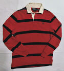 Vintage Men's POLO By RALPH LAUREN Navy/Red Striped Rugy Polo Shirt Custom Fit S