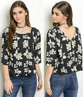 Dressy Casual Cute Botanical Floral 3/4 sleeve V back pleated work Top Blouse