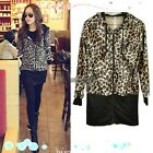 Leopard Hoodie Coat Jacket Women Outwear Pullover Sweatshirt Blouse Dress WT88