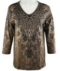 New Cactus Bay Appare Darcy 3/4 Sleeve V-Neck  Embelished Tee M-XXL