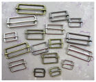 15mm - 50mm WELDED BRASS ALLOY BUCKLE SLIDERS *3 COLOURS & 6 SIZES* SLIDING BAR