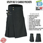 KYB Mens Scottish Working Utility Kilt Kilts Cotton Canvas Cargo Pockets Sport