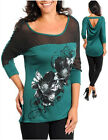 Jr's  Plus 1X,2X,3X Green & Black 3/4 Sleeve W/Sheer Front Low-Back