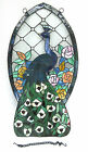 Stained Glass Peacock Floral Multi Colored Sun Catcher Wall Hanging