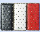 Gold Chain studded 3 color 6 compartments zip faux horsehide purse wallet 3003