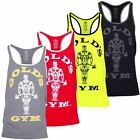 2017 Gold's Gym Muscle Joe Contrast Stringer Fitness Vest Mens Training Tank Top