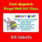 7designs BUNNY BAIT HAPPY EASTER EGG FUN TAILS KISSES POOP NOVELTY LABEL STICKER