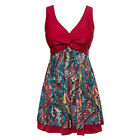 Womens Red Swimwear Boy Short Swimsuit Beach Wear Swimdress UK sz 22 20 18 16 14