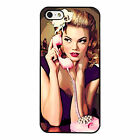 Retro Telephone Pin Up Girl Pplastic phone case Fits iPhone