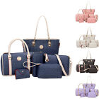 6*Women PU Leather Tote Handbag Messenger Handbags Shoulder Bag Clutch Purse Set
