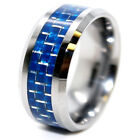 10mm Blue Carbon Fiber Inlay Tungsten Carbide Wedding Ring Sizes 7-17