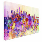 New York skyline in watercolor 40x20inches, Panoramic, Canvas Art Cheap