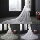 White/Beige 1 Layer 3M Soft Women Chapel Bridal Wedding Veil With Comb