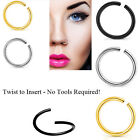 Xmas 2pcs Nose Lip Body Piercing Hoop Piercing Seamless 6mm-10mm / 18g - 20g