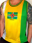 mens white yellow black dominica caribbean Flag soca carnival mesh vest top