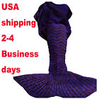 Mermaid Tail Sofa Blanket Super Soft Hand Crocheted Knitting Wool for Adult