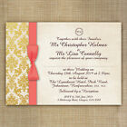 Gold Coral Damask Personalised Wedding Invitations Day and or/Evening