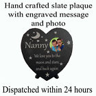 """Personalised 7.5x7.5"""" slate heart plaque with photo nanny quote unique gift"""