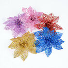 "10pcs 6"" Glitter Hollow Wedding Party Christmas Flowers Xmas Tree Decor"
