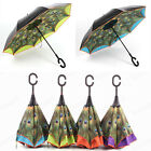 New C-Handle Double Layer Reverse Folding Peacock Umbrella Inverted Upside Down