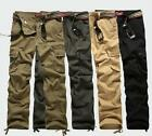 Mens Hiking Cargo Military Straight Casual Loose Trousers Outdoor Pockets Pants