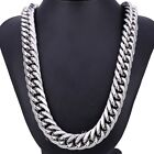 18mm Curb Cuban Link Mens Chain Silver Tone 316L Stainless Steel Necklace HEAVY
