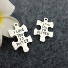 10PCS Jigsaw Alloy Beads Charms Pendent DIY Necklace Jewelry Making 34*23mm