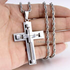 """3mm 18-24"""" MENS Stainless Steel Silver Rope Twist Chain Necklace Cross Pendant"""