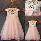 Flower Girl Summer Dress Kid Baby Princess Party Pink Lace Tulle Tutu Dresses