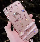 Cute Bling Stars Glitter Soft Gel Clear Strap Case Cover for iPhone 6/6S/7 Plus