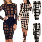 Women's SEXY Square Pattern Bodycon Cocktail Long Sleeve Dress Translucent Dance